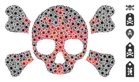 Coronavirus mosaic skull crossbones icon. Mosaic vector is formed with skull crossbones pictogram and with randomized microbe items. Red and black coronavirus items are used. Ilustração