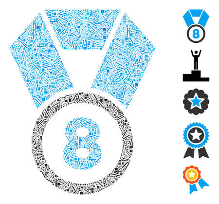 Hatch Mosaic based on 8th place medal icon. Mosaic vector 8th place medal is created with scattered line spots. Bonus icons are added. Ilustração