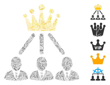 Hatch Mosaic based on administration crown icon. Mosaic vector administration crown is designed with random hatch spots. Bonus icons are added.