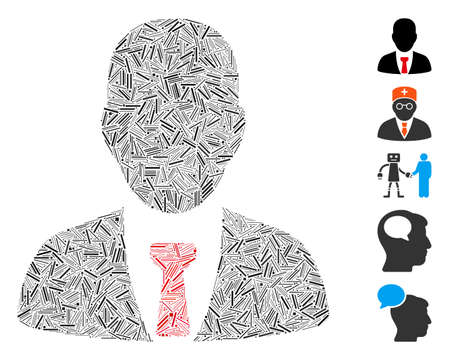 Line Mosaic based on businessman icon. Mosaic vector businessman is formed with randomized line spots. Bonus icons are added.