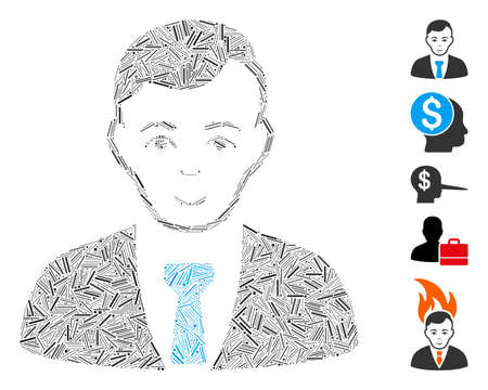 Line Mosaic based on businessman icon. Mosaic vector businessman is created with randomized line items. Bonus icons are added.