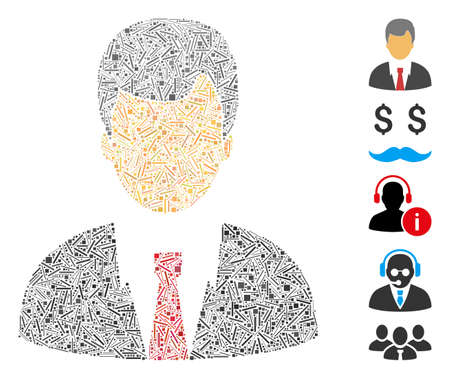 Line Mosaic based on businessman icon. Mosaic vector businessman is composed with random line dots. Bonus icons are added.