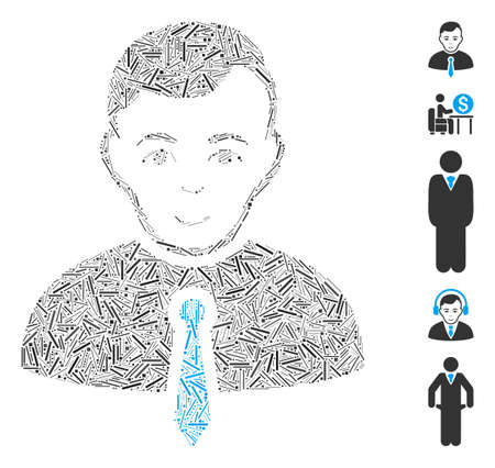 Dash Mosaic based on businessman icon. Mosaic vector businessman is composed with scattered dash spots. Bonus icons are added.