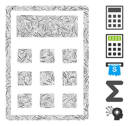 Dash Mosaic based on calculator icon. Mosaic vector calculator is designed with random dash items. Bonus icons are added.