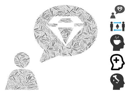 Dash Mosaic based on diamond thinking person icon. Mosaic vector diamond thinking person is composed with randomized dash items. Bonus icons are added. Ilustracja