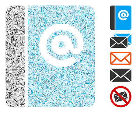 Dash Collage based on emails icon. Mosaic vector emails is formed with scattered dash dots. Bonus icons are added. Иллюстрация