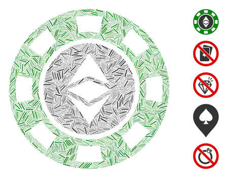 Dash Mosaic based on Ethereum casino chip icon. Mosaic vector Ethereum casino chip is formed with random dash elements. Bonus icons are added.