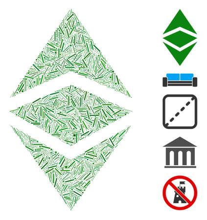Dash Mosaic based on Ethereum classic icon. Mosaic vector Ethereum classic is composed with random dash items. Bonus icons are added.
