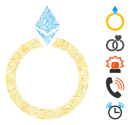 Hatch Mosaic based on Ethereum jewelry ring icon. Mosaic vector Ethereum jewelry ring is designed with randomized hatch elements. Bonus icons are added.