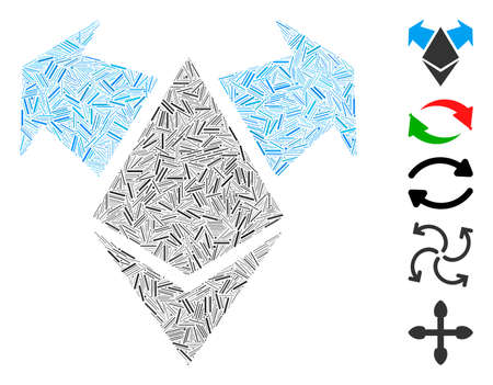 Dash Mosaic based on Ethereum spend arrows icon. Mosaic vector Ethereum spend arrows is created with randomized dash items. Bonus icons are added.
