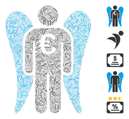 Line Mosaic based on Euro angel investor icon. Mosaic vector Euro angel investor is formed with randomized line spots. Bonus icons are added.
