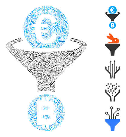 Hatch Collage based on Euro Bitcoin conversion funnel icon. Mosaic vector Euro Bitcoin conversion funnel is created with randomized hatch elements. Bonus icons are added.