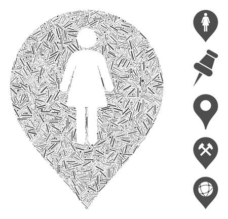 Hatch Mosaic based on female toilet marker icon. Mosaic vector female toilet marker is designed with scattered hatch items. Bonus icons are added.