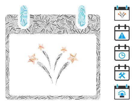 Dash Mosaic based on fireworks calendar day icon. Mosaic vector fireworks calendar day is created with random dash items. Bonus icons are added. Standard-Bild - 142298799