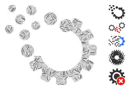 Dash Mosaic based on gear disruption icon. Mosaic vector gear disruption is designed with randomized dash dots. Bonus icons are added. Vektoros illusztráció