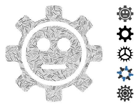Hatch Mosaic based on gear neutral smiley icon. Mosaic vector gear neutral smiley is created with scattered hatch elements. Bonus icons are added.