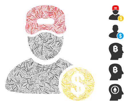 Dash Mosaic based on guy salary icon. Mosaic vector guy salary is formed with randomized dash spots. Bonus icons are added.