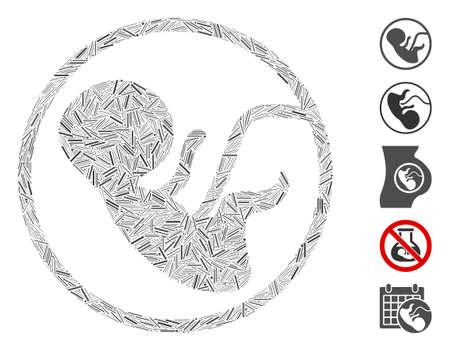 Dash Mosaic based on human embryo icon. Mosaic vector human embryo is created with random dash elements. Bonus icons are added. Illustration