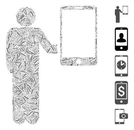 Line Collage based on man holds smartphone icon. Mosaic vector man holds smartphone is composed with random line items. Bonus icons are added.