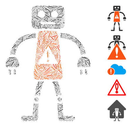 Line Mosaic based on robot danger icon. Mosaic vector robot danger is created with scattered line elements. Bonus icons are added. Vektoros illusztráció