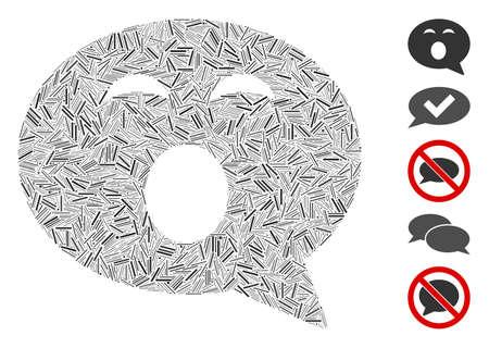 Hatch Mosaic based on sleepy smiley message icon. Mosaic vector sleepy smiley message is created with randomized hatch items. Bonus icons are added.