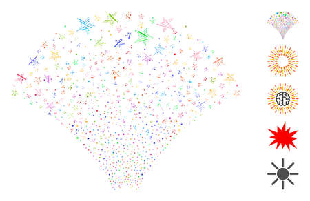 Hatch Mosaic based on star fountain icon. Mosaic vector star fountain is formed with randomized hatch dots. Bonus icons are added.