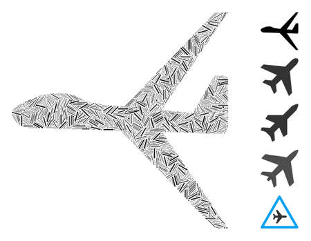 Line Collage based on uav icon. Mosaic vector uav is created with scattered line elements. Bonus icons are added.