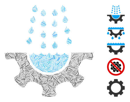 Hatch Collage based on water shower service gear icon. Mosaic vector water shower service gear is formed with randomized hatch dots. Bonus icons are added.