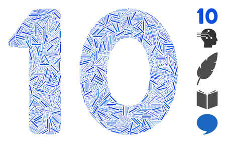 Line Mosaic based on 10 digits text icon. Mosaic vector 10 digits text is designed with randomized line dots. Bonus icons are added.