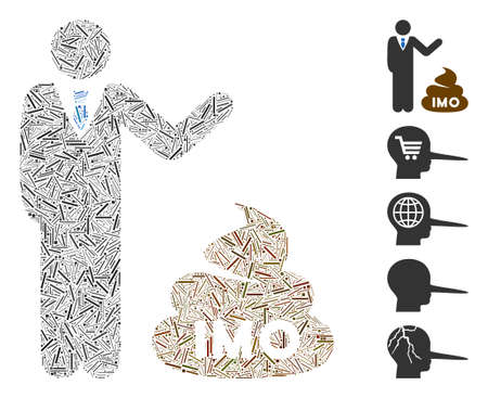 Line Mosaic based on businessman show IMO shit icon. Mosaic vector businessman show IMO shit is composed with random line elements. Bonus icons are added.