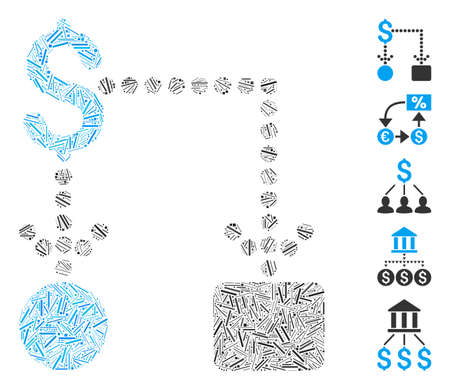 Line Mosaic based on cashflow icon. Mosaic vector cashflow is composed with randomized line items. Bonus icons are added.