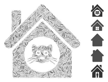 Line Mosaic based on cat house icon. Mosaic vector cat house is designed with scattered line dots. Bonus icons are added.