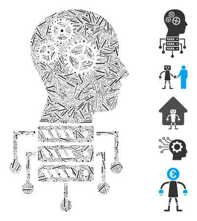Line Mosaic based on cyborg server node icon. Mosaic vector cyborg server node is composed with random line items. Bonus icons are added.