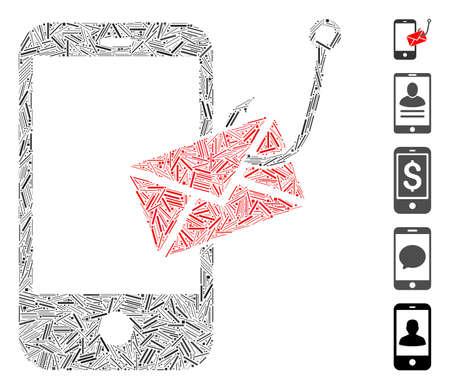 Line Mosaic based on smartphone message phishing icon. Mosaic vector smartphone message phishing is composed with scattered line elements. Bonus icons are added. Illustration