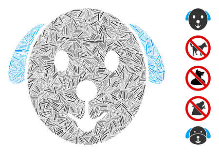 Hatch Mosaic based on dog icon. Mosaic vector dog is composed with scattered hatch items. Bonus icons are added. Ilustrace