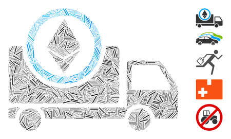 Dash Mosaic based on Ethereum delivery truck icon. Mosaic vector Ethereum delivery truck is designed with scattered dash items. Bonus icons are added. Ilustracja