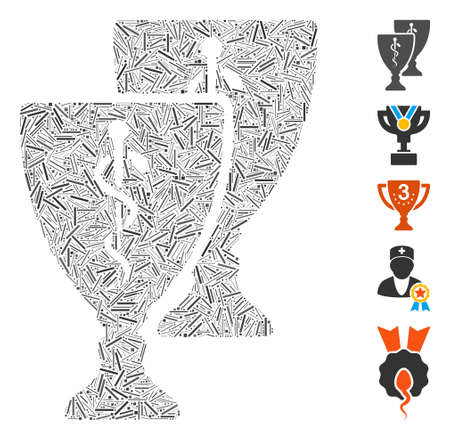 Hatch Mosaic based on medical award cups icon. Mosaic vector medical award cups is composed with scattered hatch items. Bonus icons are added.