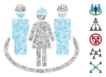 Dash Mosaic based on worker social relations icon. Mosaic vector worker social relations is formed with randomized dash dots. Bonus icons are added. Ilustração