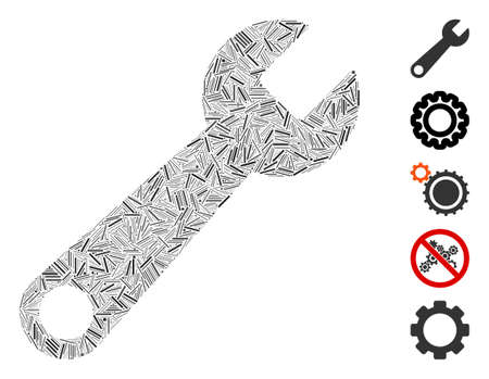 Line Mosaic based on wrench icon. Mosaic vector wrench is designed with random line dots. Bonus icons are added.