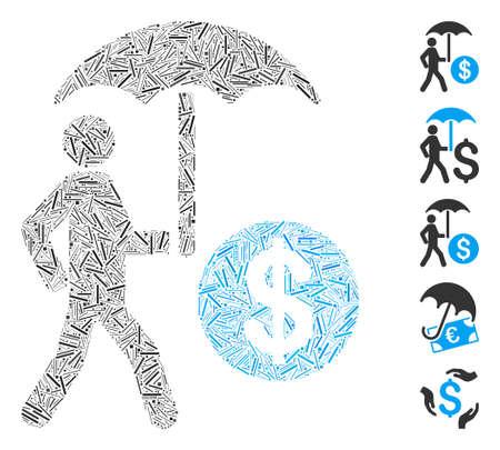 Hatch Mosaic based on financial umbrella protection icon. Mosaic vector financial umbrella protection is designed with random hatch items. Bonus icons are added. Vektoros illusztráció
