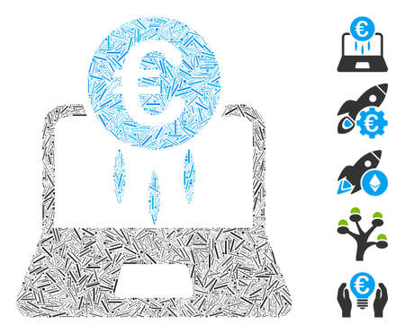 Hatch Mosaic based on Euro financial startup icon. Mosaic vector Euro financial startup is designed with randomized hatch spots. Bonus icons are added.