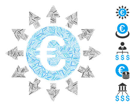 Line Mosaic based on Euro payments icon. Mosaic vector Euro payments is designed with randomized line elements. Bonus icons are added.