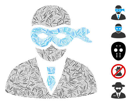 Line Mosaic based on masked thief icon. Mosaic vector masked thief is designed with random line elements. Bonus icons are added. Illustration