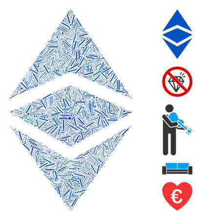 Line Mosaic based on Ethereum classic icon. Mosaic vector Ethereum classic is created with randomized line items. Bonus icons are added.