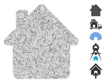 Line Mosaic based on house icon. Mosaic vector house is composed with random line items. Bonus icons are added.