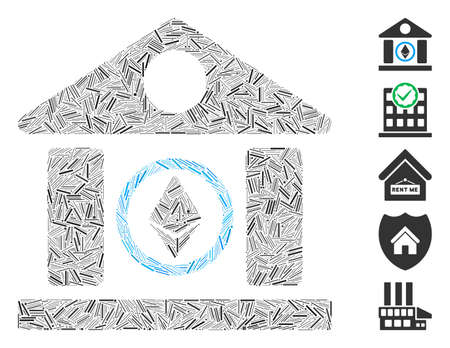 Dash Mosaic based on Ethereum corporation building icon. Mosaic vector Ethereum corporation building is formed with random dash elements. Bonus icons are added.