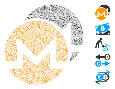 Hatch Mosaic based on Monero coins icon. Mosaic vector Monero coins is formed with randomized hatch dots. Bonus icons are added.