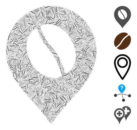 Dash Mosaic based on coffee bean marker icon. Mosaic vector coffee bean marker is created with random dash dots. Bonus icons are added.