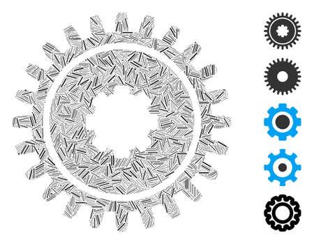 Hatch Mosaic based on cogwheel icon. Mosaic vector cogwheel is created with randomized hatch elements. Bonus icons are added. Illusztráció
