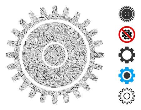Line Mosaic based on cogwheel icon. Mosaic vector cogwheel is designed with random line dots. Bonus icons are added. Illusztráció